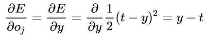 Derivative of output error with respect to neuron output.