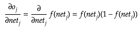 Derivative of neuron output with respect to the weighted sum.