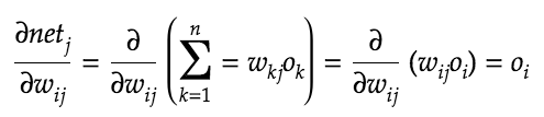 Partial derivative of the weighted sum of inputs with respect to each weight.