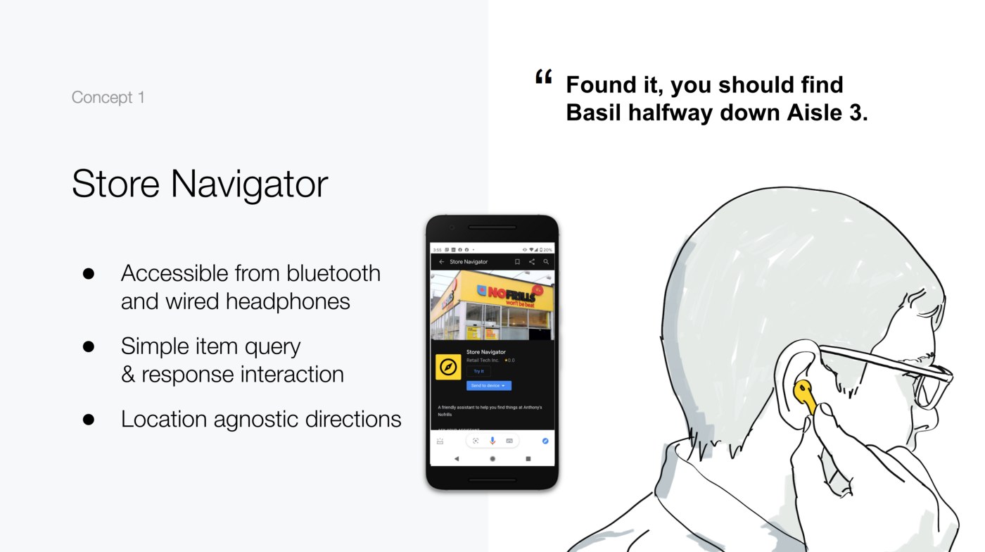 Concept 1: Store navigator that is accessible via bluetooth and wired headphones where store clerks can answer item inquiries.