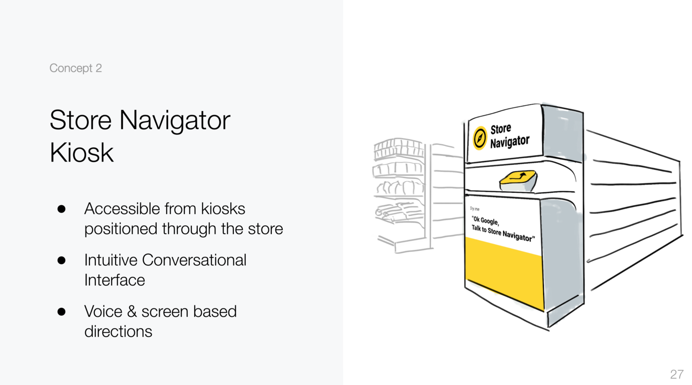 Concept 2 of store navigator kiosk that are positioned around grocery store for shoppers to use independently