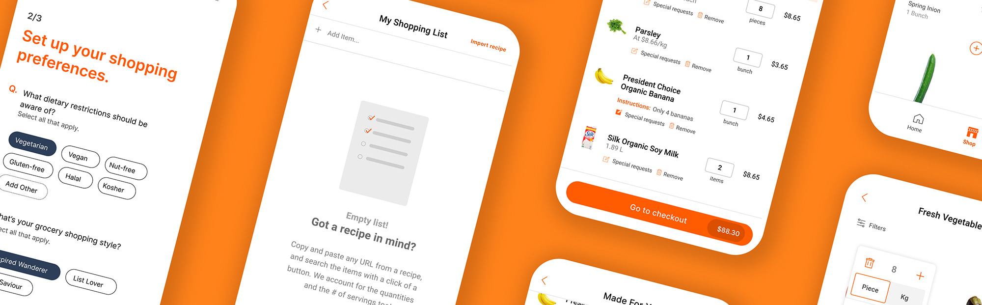 user interface mobile screens of food delivery app