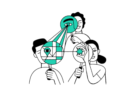 illustration three people looking through magnifying glasses