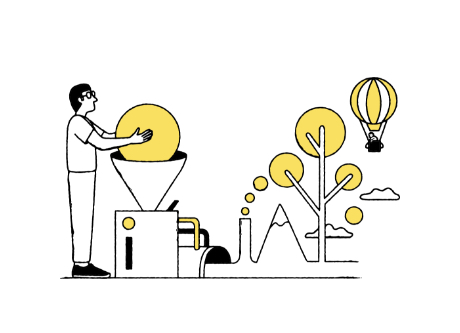 illustration a person putting a sphere into a machine that is creating a outdoor enviroment