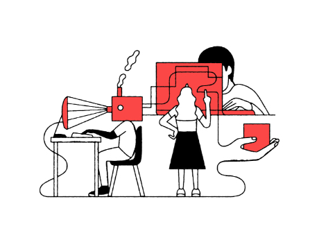 illustration three people one at a laptop, on looking at a board and one with a factory for a head