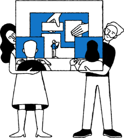 Illustration of a man and woman holding a visual board